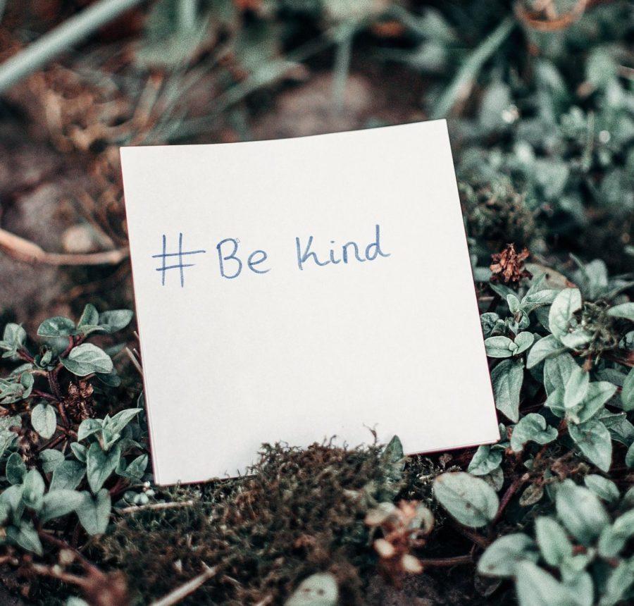 Piece of white paper in garden with words #bekind written on it.